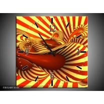 Wandklok op Canvas Abstract | Kleur: Geel, Rood | F003248C