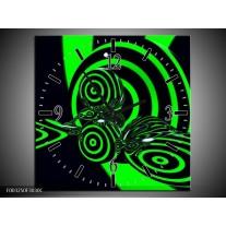 Wandklok op Canvas Abstract | Kleur: Groen, Zwart | F003250C
