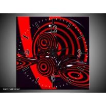 Wandklok op Canvas Abstract   Kleur: Rood, Zwart   F003251C