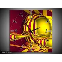 Wandklok op Canvas Abstract | Kleur: Geel, Rood | F003252C