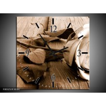Wandklok op Canvas Roos | Kleur: Bruin, Sepia, Wit | F003253C