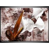 Foto canvas schilderij Bloem | Bruin, Wit, Grijs