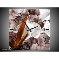 Wandklok op Canvas Bloem | Kleur: Bruin, Wit, Grijs | F003254C