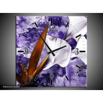 Wandklok op Canvas Bloem | Kleur: Paars, Wit, Bruin | F003255C