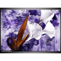 Glas schilderij Bloem | Paars, Wit, Bruin