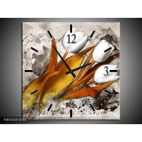 Wandklok op Canvas Tulpen | Kleur: Grijs, Wit, Bruin | F003256C