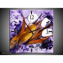 Wandklok op Canvas Tulpen | Kleur: Paars, Bruin, Wit | F003257C