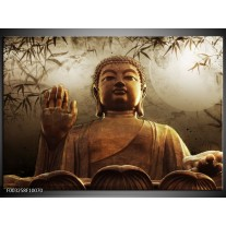 Foto canvas schilderij Boeddha   Bruin, Grijs, Wit