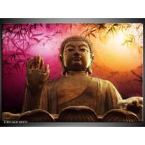 Glas schilderij Boeddha | Paars, Bruin, Wit