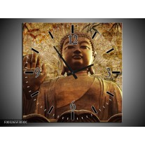 Wandklok op Canvas Boeddha | Kleur: Bruin, Grijs | F003265C