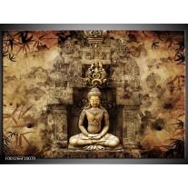 Foto canvas schilderij Boeddha | Grijs, Bruin