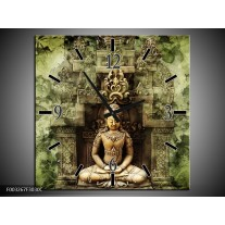 Wandklok op Canvas Boeddha | Kleur: Groen, Bruin | F003267C