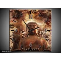 Wandklok op Canvas Boeddha | Kleur: Bruin, Wit | F003268C