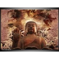 Glas schilderij Boeddha | Bruin, Wit
