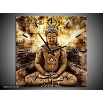 Wandklok op Canvas Boeddha | Kleur: Bruin, Wit, Geel | F003270C