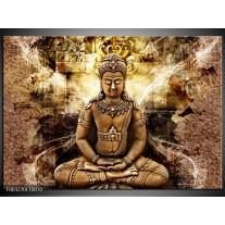 Glas schilderij Boeddha | Bruin, Wit, Geel