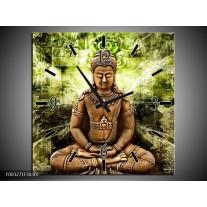Wandklok op Canvas Boeddha | Kleur: Groen, Bruin | F003271C