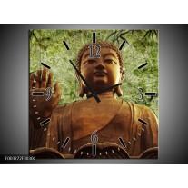Wandklok op Canvas Boeddha | Kleur: Groen, Bruin | F003272C