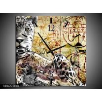 Wandklok op Canvas Dieren | Kleur: Geel, Grijs, Wit | F003275C