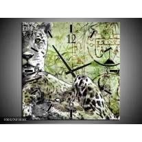 Wandklok op Canvas Dieren | Kleur: Groen, Zwart, Wit | F003276C