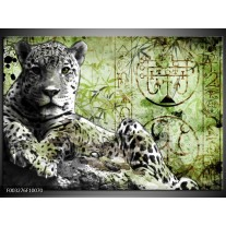 Glas schilderij Dieren | Groen, Zwart, Wit