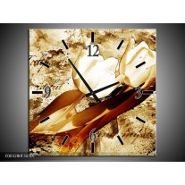 Wandklok op Canvas Tulpen | Kleur: Bruin, Wit | F003280C