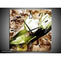Wandklok op Canvas Tulpen | Kleur: Groen, Bruin, Wit | F003281C