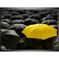 Glas schilderij Paraplu | Geel, Zwart