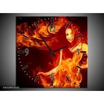 Wandklok op Canvas Vrouw | Kleur: Rood, Zwart, Geel | F003289C