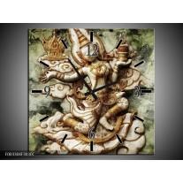 Wandklok op Canvas Beeld | Kleur: Bruin, Wit, Groen | F003304C