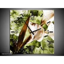 Wandklok op Canvas Bloem   Kleur: Bruin, Wit, Groen   F003307C