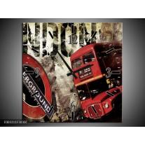 Wandklok op Canvas Londen | Kleur: Rood, Zwart, Grijs | F003311C