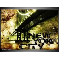 Glas schilderij New York   Geel, Zwart, Bruin