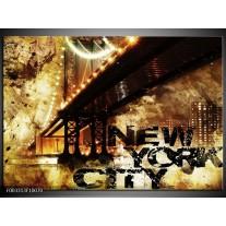Foto canvas schilderij New York | Groen, Zwart, Bruin
