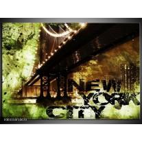 Glas schilderij New York   Groen, Zwart, Bruin