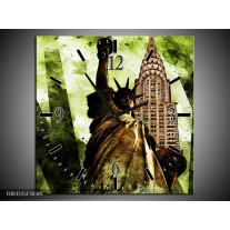 Wandklok op Canvas New York | Kleur: Groen, Zwart, Bruin | F003315C