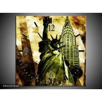 Wandklok op Canvas New York | Kleur: Groen, Zwart, Bruin | F003316C