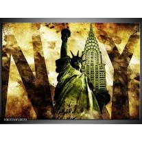 Glas schilderij New York | Groen, Zwart, Bruin