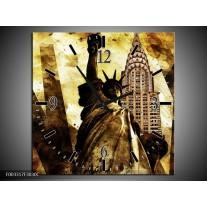 Wandklok op Canvas New York | Kleur: Geel, Zwart, Bruin | F003317C
