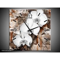 Wandklok op Canvas Orchidee | Kleur: Wit, Bruin | F003320C