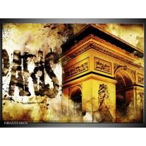 Glas schilderij Parijs | Bruin, Geel, Grijs