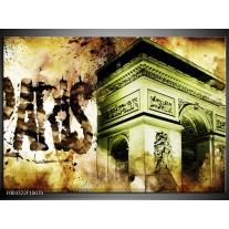 Foto canvas schilderij Parijs   Bruin, Groen, Wit
