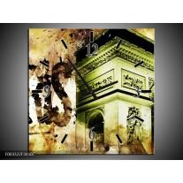 Wandklok op Canvas Parijs | Kleur: Bruin, Groen, Wit | F003322C