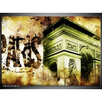 Glas schilderij Parijs | Bruin, Groen, Wit
