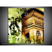 Wandklok op Canvas Parijs | Kleur: Bruin, Groen, Wit | F003323C