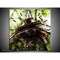 Wandklok op Canvas Eiffeltoren | Kleur: Groen, Bruin | F003324C