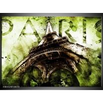Glas schilderij Eiffeltoren | Groen, Bruin
