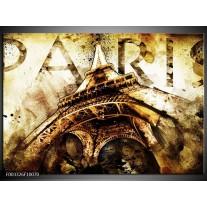 Foto canvas schilderij Eiffeltoren | Wit, Bruin