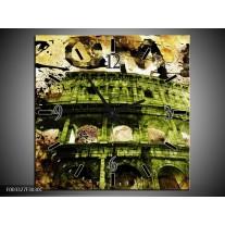 Wandklok op Canvas Rome | Kleur: Groen, Bruin | F003327C