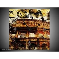 Wandklok op Canvas Rome | Kleur: Bruin, Grijs, Zwart | F003328C